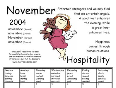 Download TerraCuddles Calendar for November - Hospitality