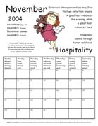 TerraCuddles Calendar - November 2004 - Hospitality